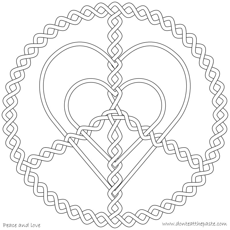 heart peace sign coloring pages - photo#18