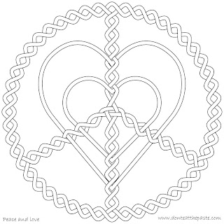 Peace and love coloring page