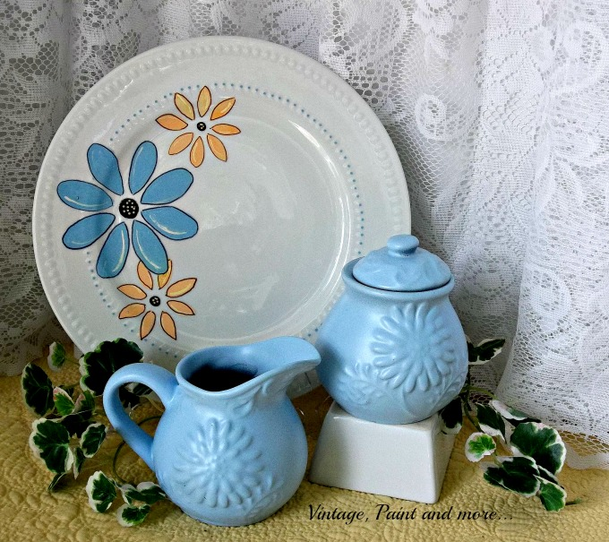 Vintage, Paint and more... stenciled dollar store plate, using paint on dishes, spray painting dishes