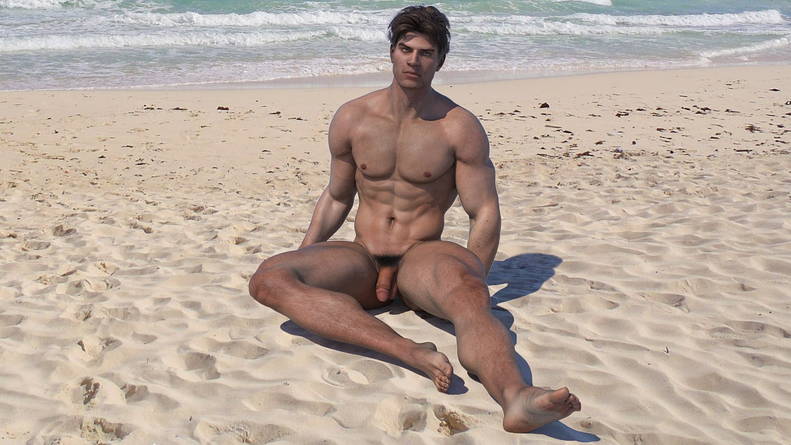Beach nudist black men on