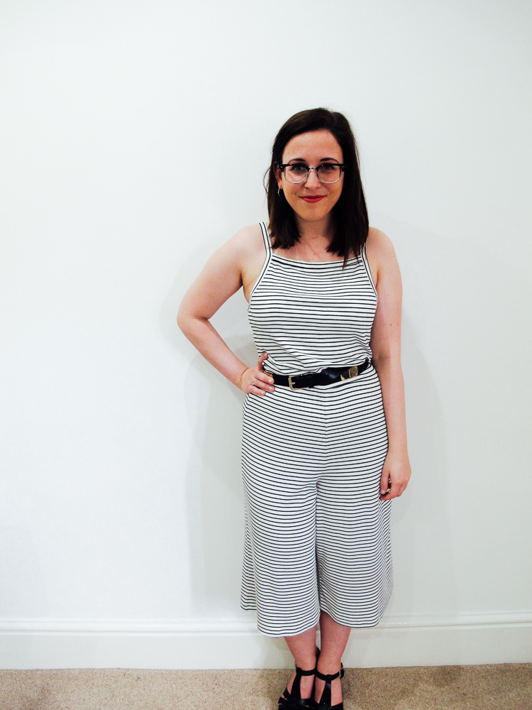 Topshop Strip Culotte Jumpsuit