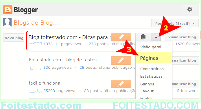 Como organiza links e menus de blog do blogger nova interface