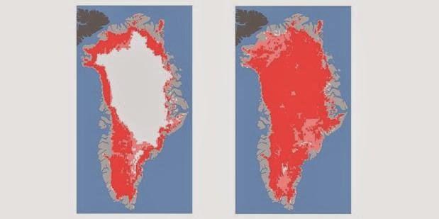 Citra menunjukkan lapisan es sebelum meleleh pada 8 juli 2012 (kiri) dan setelah meleleh (kanan)  4 hari kemudian pada 12  Juli 2012
