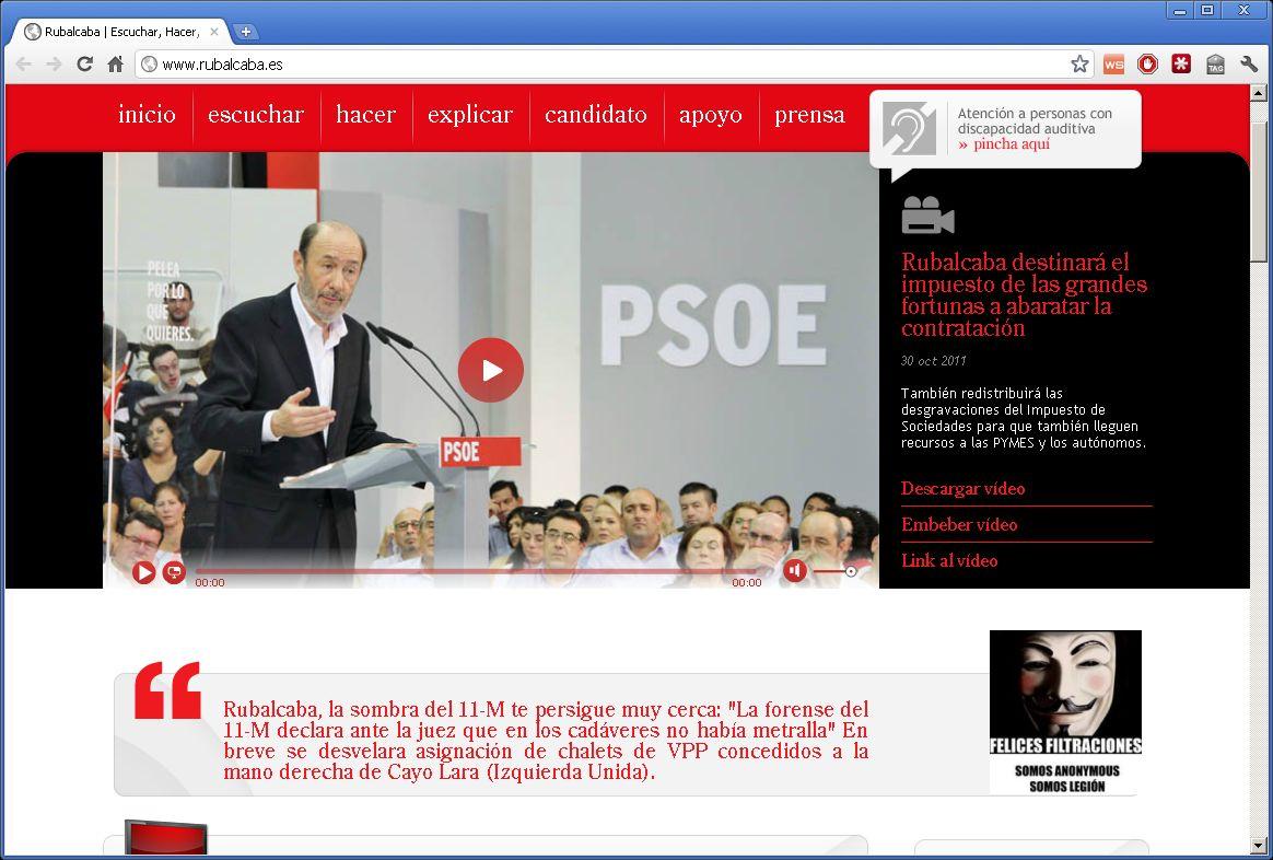 Ataque web Rubalcaba