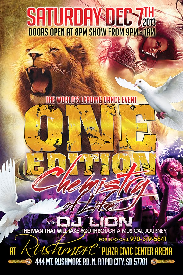 One Edition Chemistry of Life Rave Rapid City South Dakota DJ Lion Flyer Design