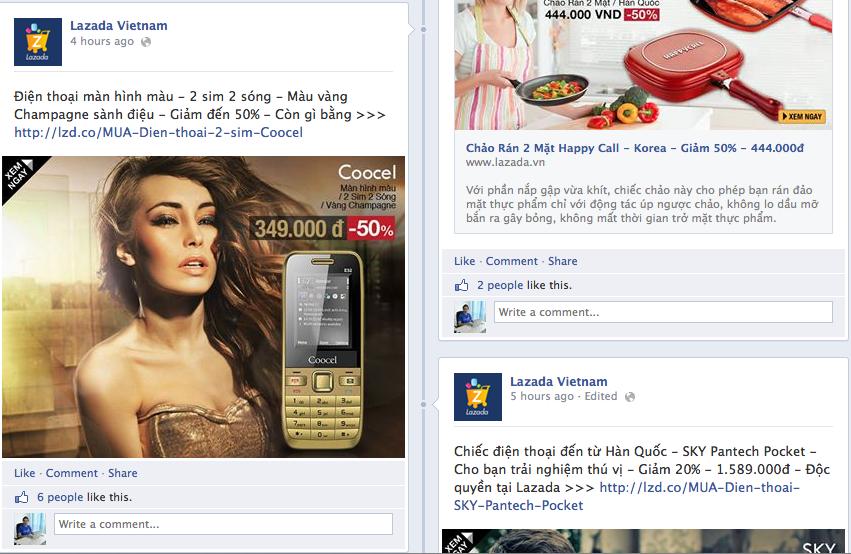 Lazada Vietnam facebook fanpage, giảm tỷ lệ reach, 3% facebook fans thấy update.