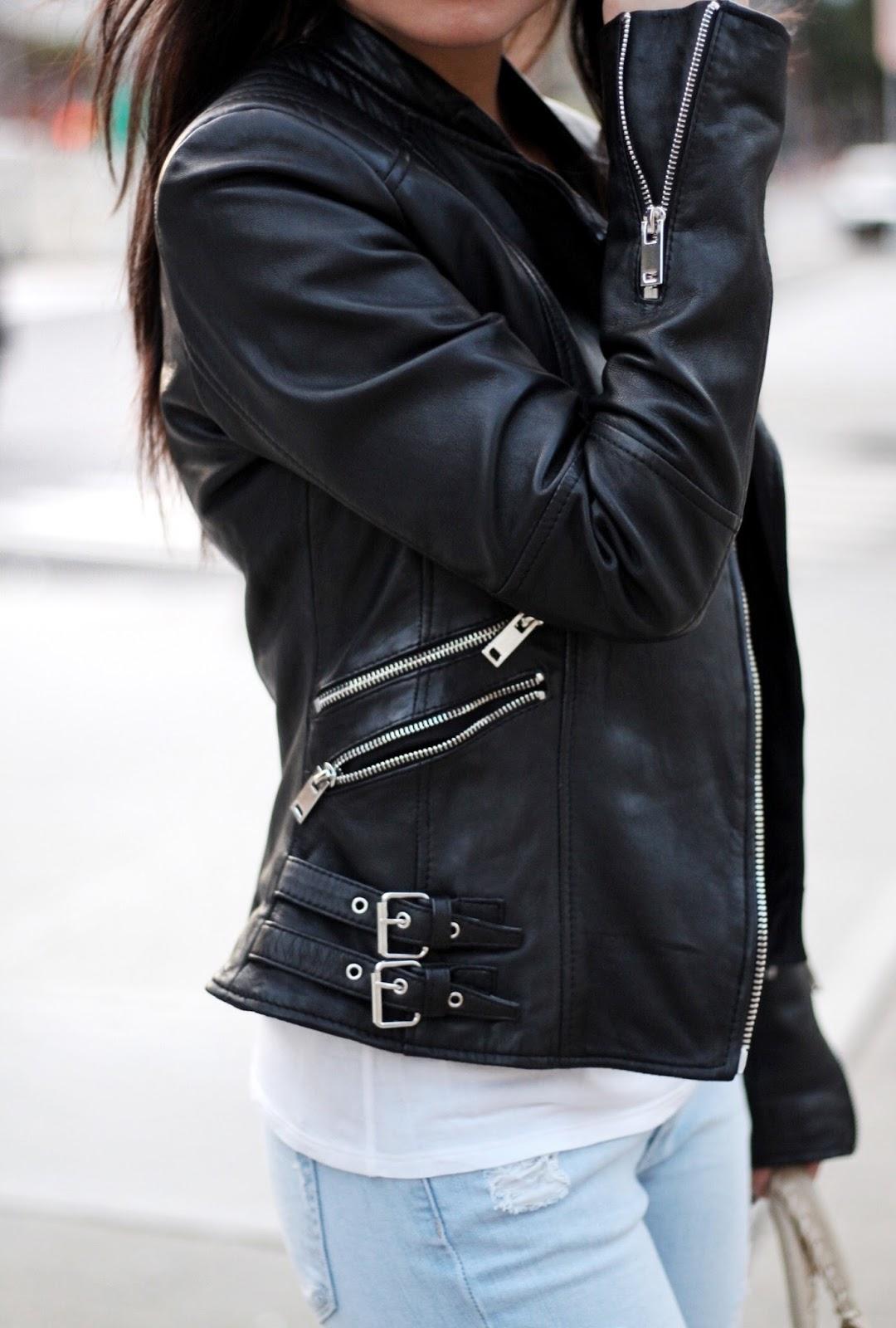 Leather jacket AG white tee Paige denim Tibi Denni loafer Balenciaga city bag
