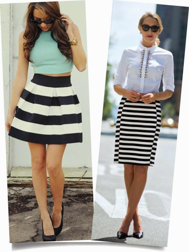 la mode de la jupe-moda falda-skirt fashion-saia moda-saia com listras