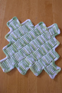 green and white Tunisian entrelac dishcloth