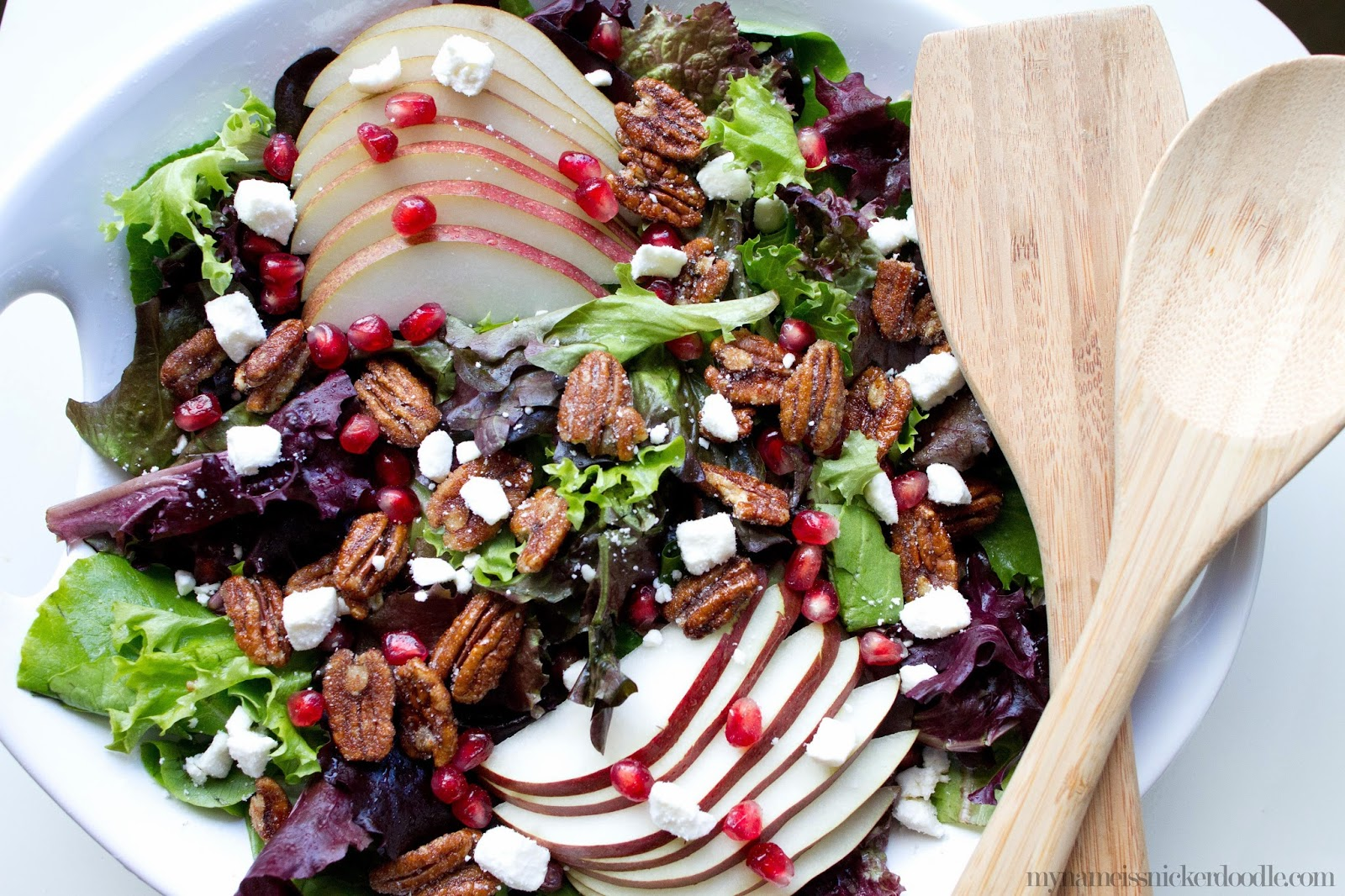 Pecan and Pear Salad with Pomegranetes and Feta Cheese