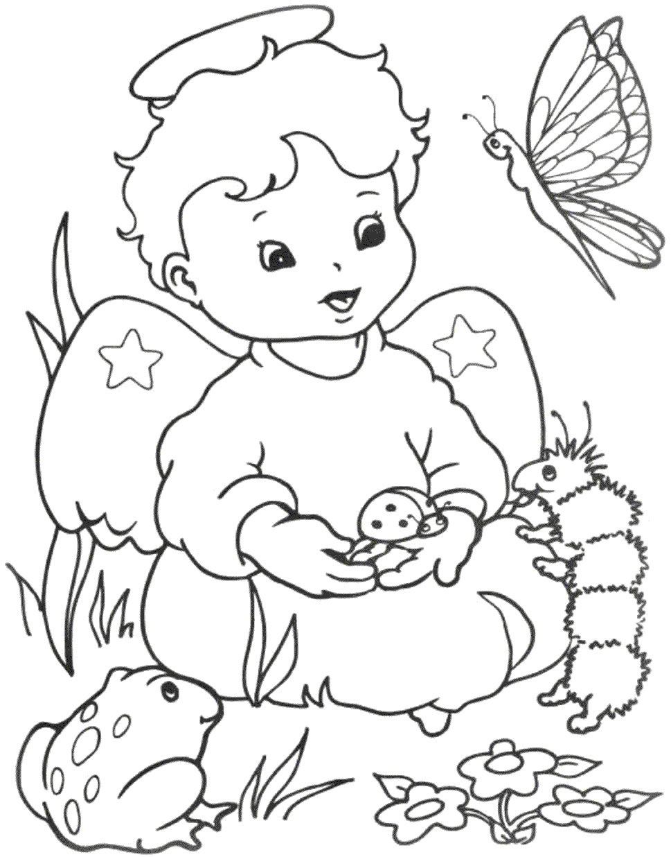 Angel coloring pages for Disegni da colorare angeli
