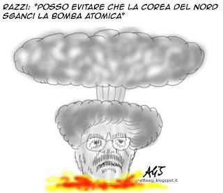 Antonio Razzi, Corea del Nord, Bomba atomica, satira, vignetta
