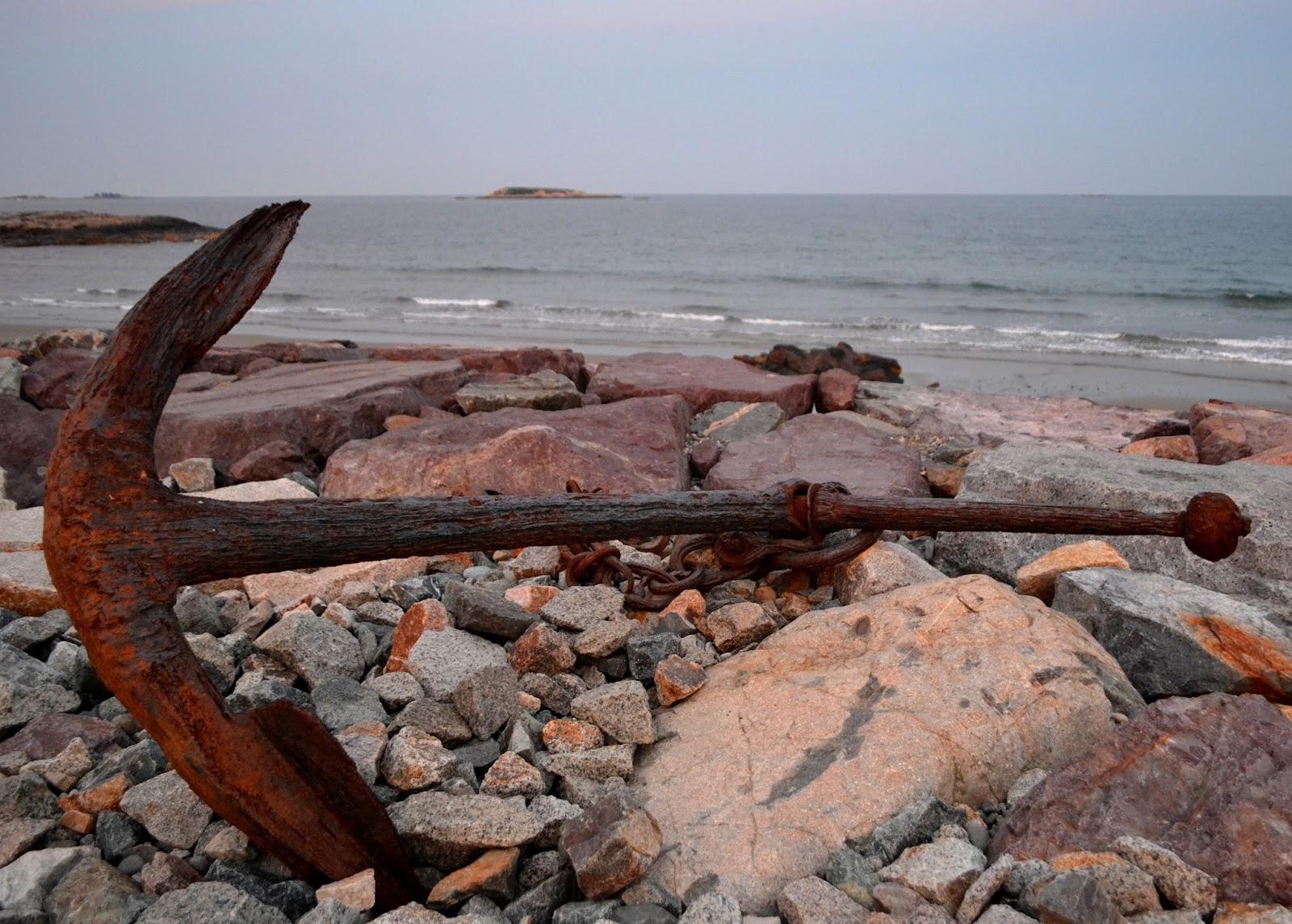 rusty, anchor, broken, beach, stones, rocks, ocean, island