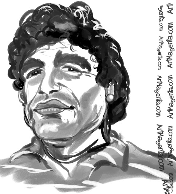 Diego Maradonacaricature cartoon. Portrait drawing by caricaturist Artmagenta.