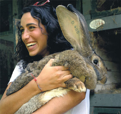 women with a giant bunny