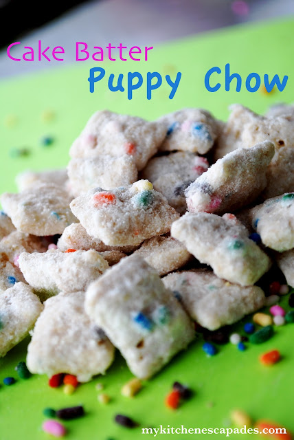 Cake Batter Puppy chow muddy buddies