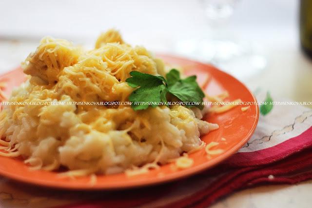 Нежный рис с курицей и сыром