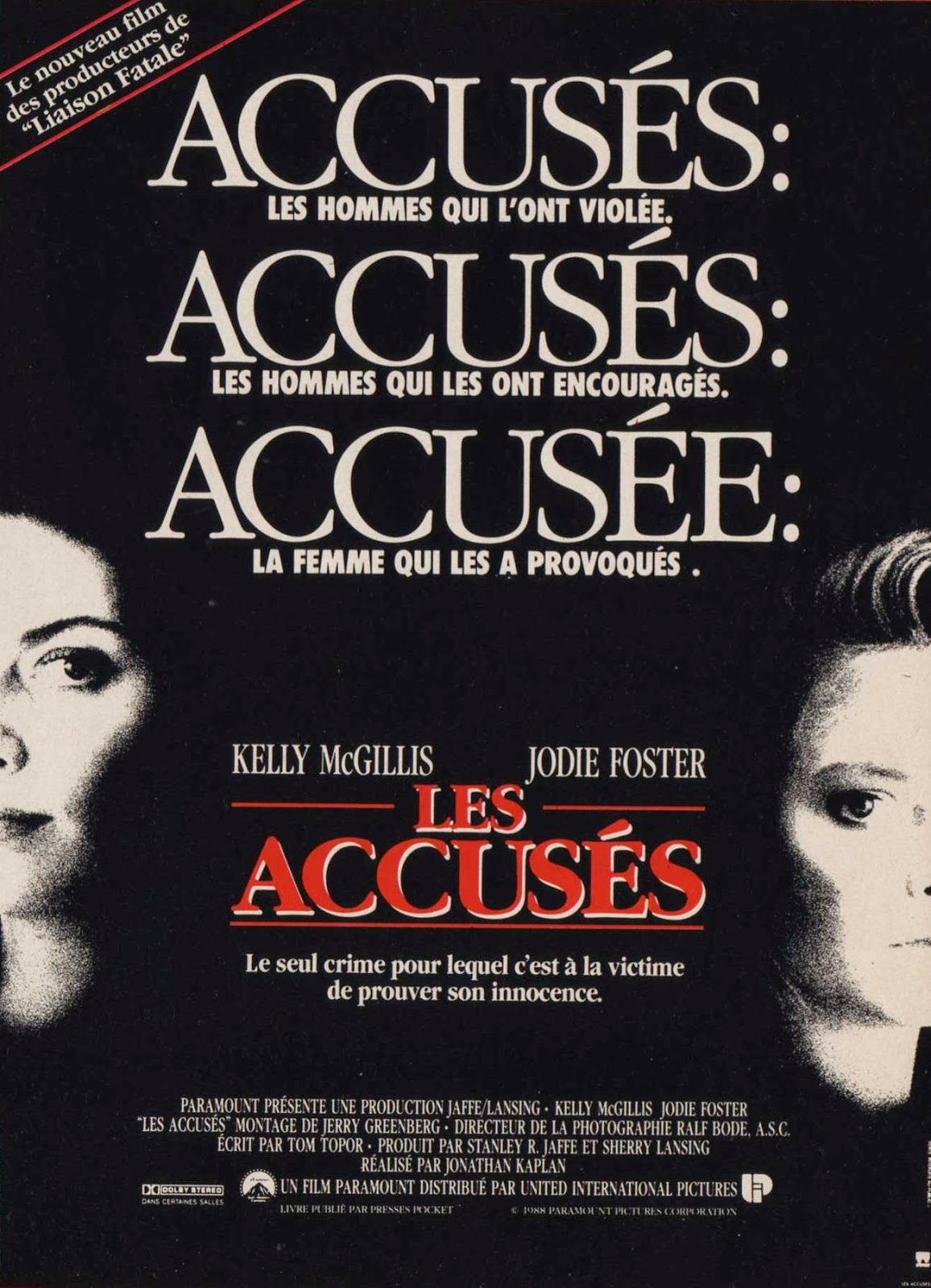 the accused dir jonathan kaplan 1988 discreet charms les accuses french poster click for a larger image