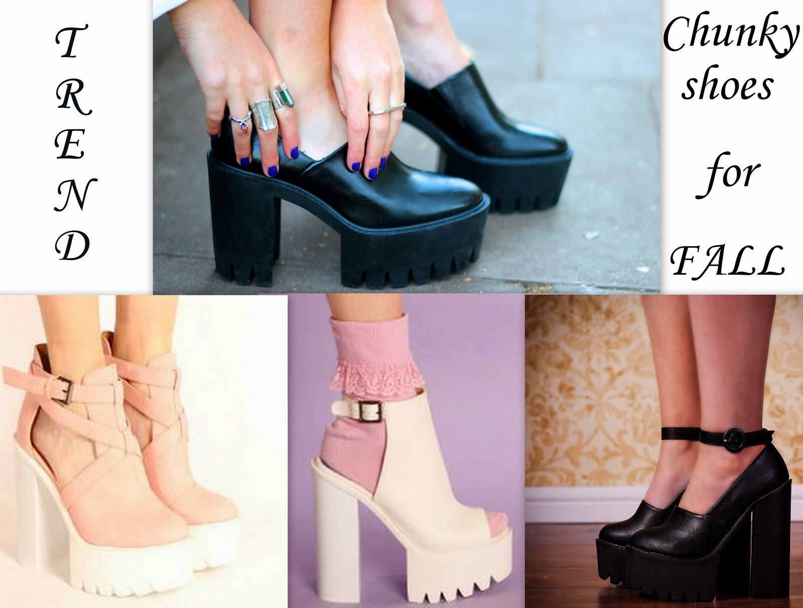 trend, fall trend 2014, black chunky shoes heels, white chunky shoes, pale pink chunky shoes