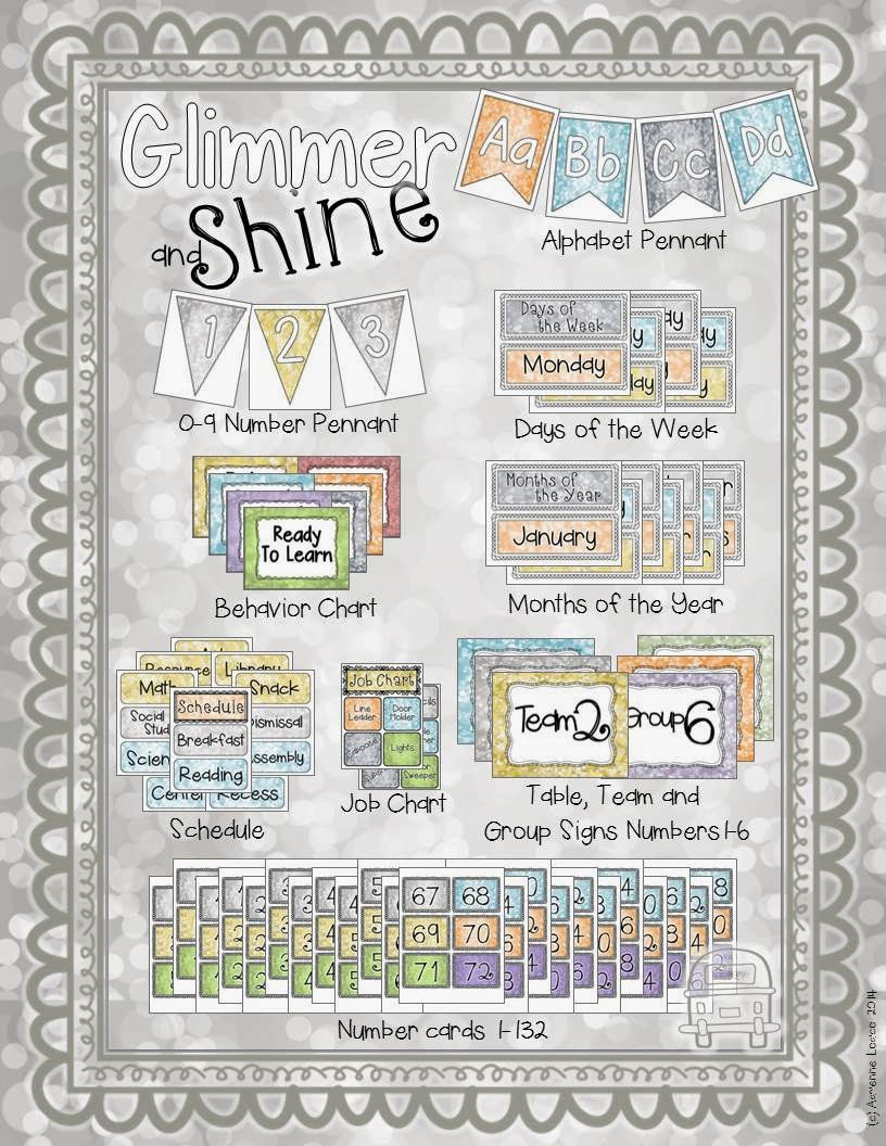 http://www.teacherspayteachers.com/Product/Glimmer-and-Shine-Classroom-Decor-Set-Relaxed-and-pretty-class-theme-1352584
