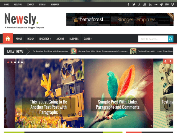 Newsly - Responsive Multipurpose Blogger Template