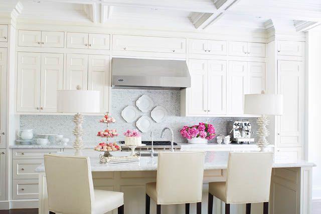 Cocina blanca con gran isla