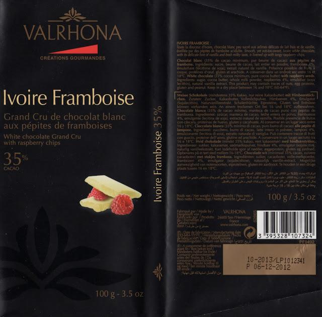 tablette de chocolat blanc gourmand valrhona ivoire framboise 35