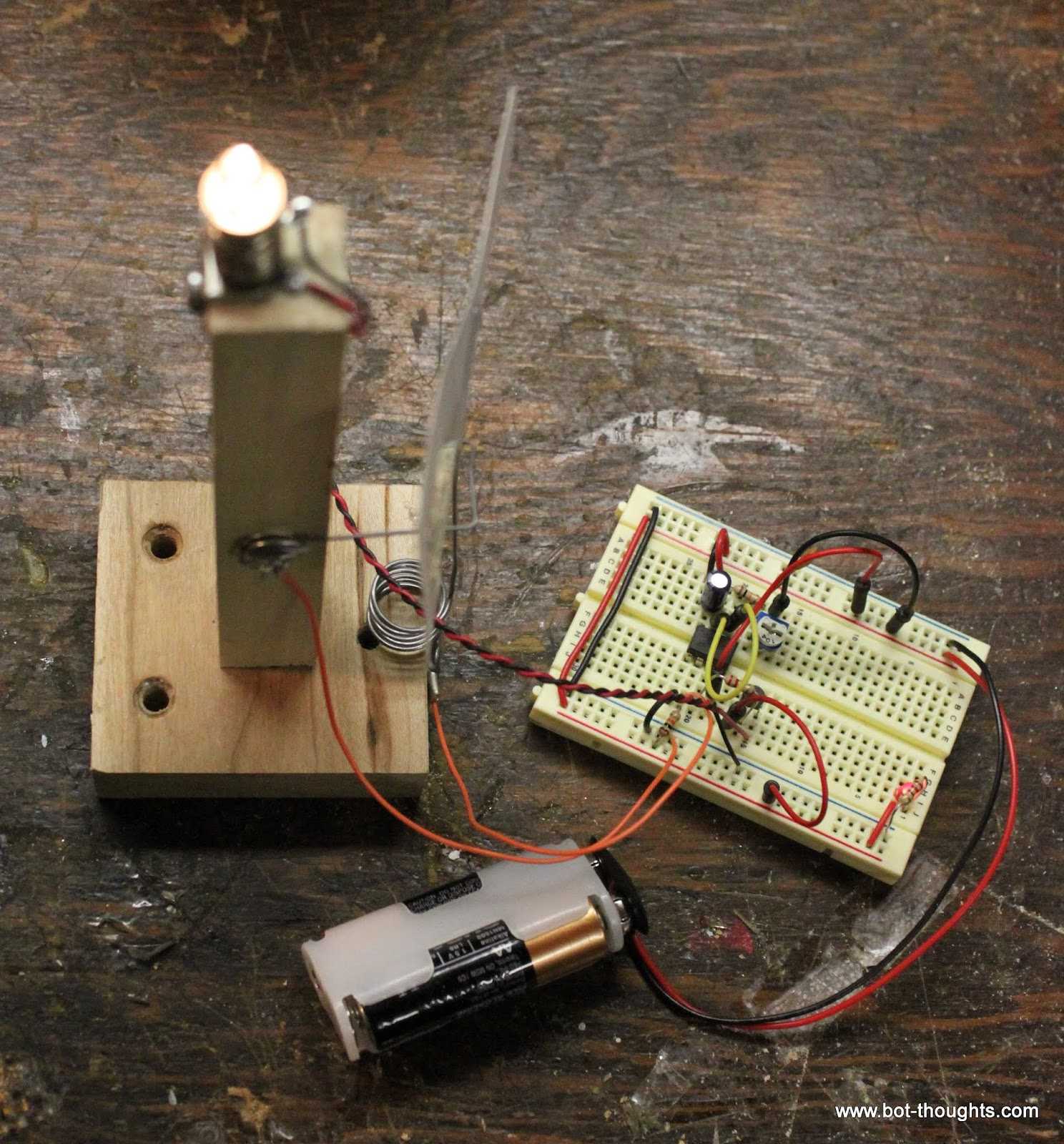 Bot Thoughts Electronic Candle With A 555 Timer Monostable Circuit Electrical Engineering Electronics Driving The Lamp