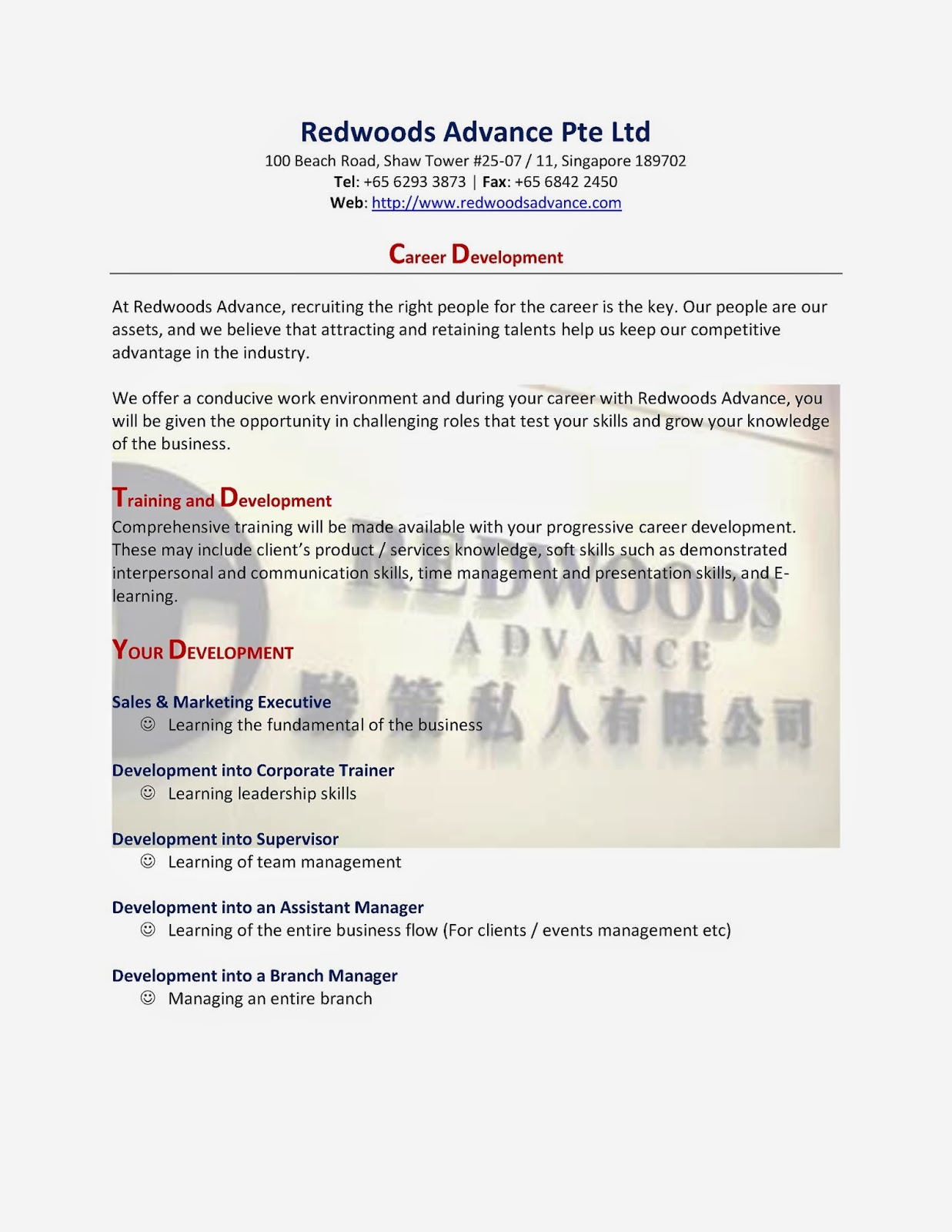 Redwoods Advance - Career Development Programme