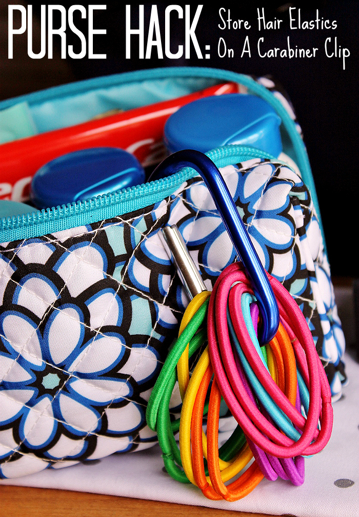 Purse Hack: Store Hair Elastics On A Carabiner Clip. Check out this roundup of Must Have Purse Essentials and #LifeHacks to #BeHealthyForEveryPartOfLife. (ad)