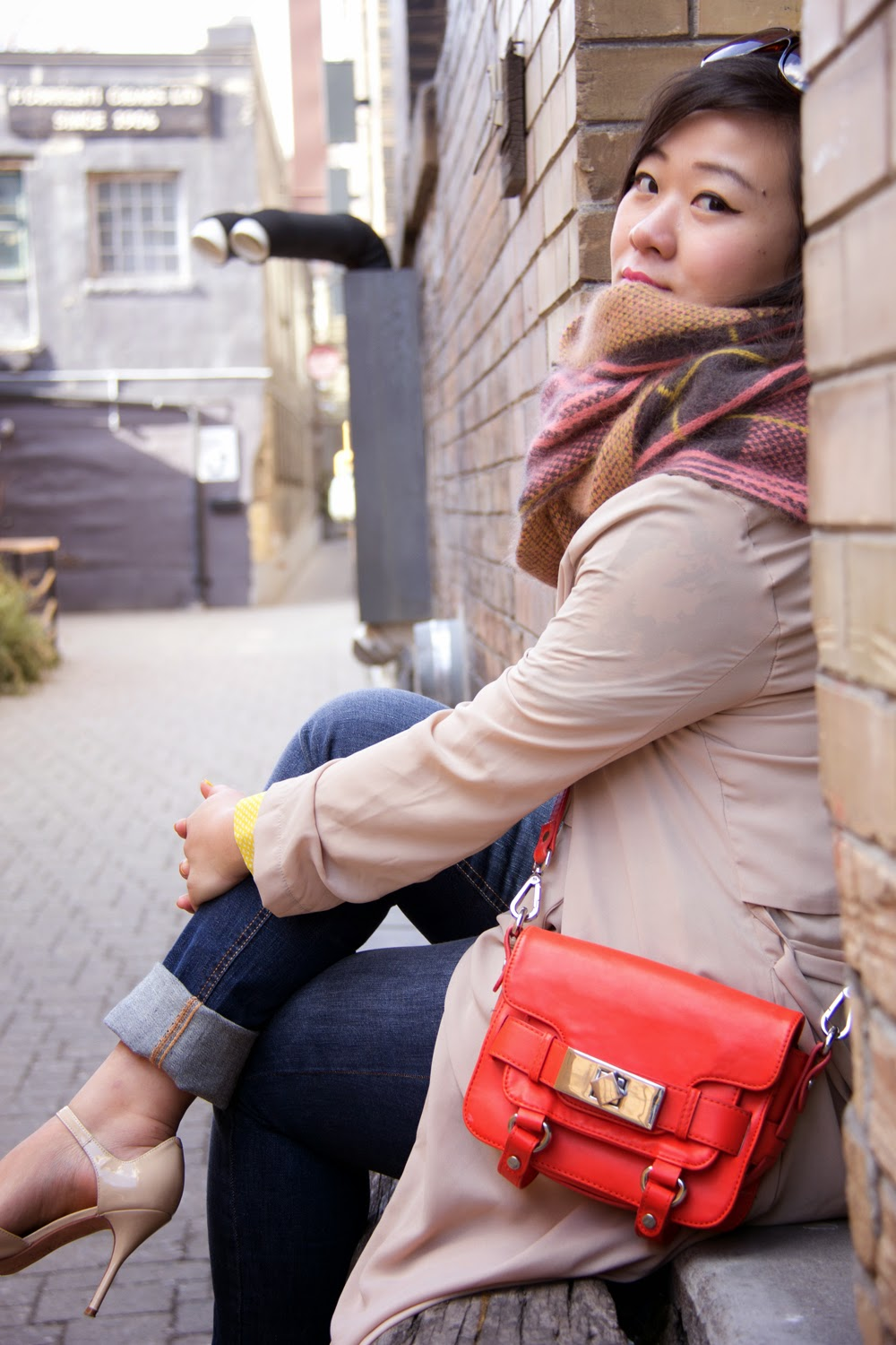 Spring-Outfit-Look, Chiffon-Trench-Coat, Orange-Mini-Toto-Bag, Chunky scarf