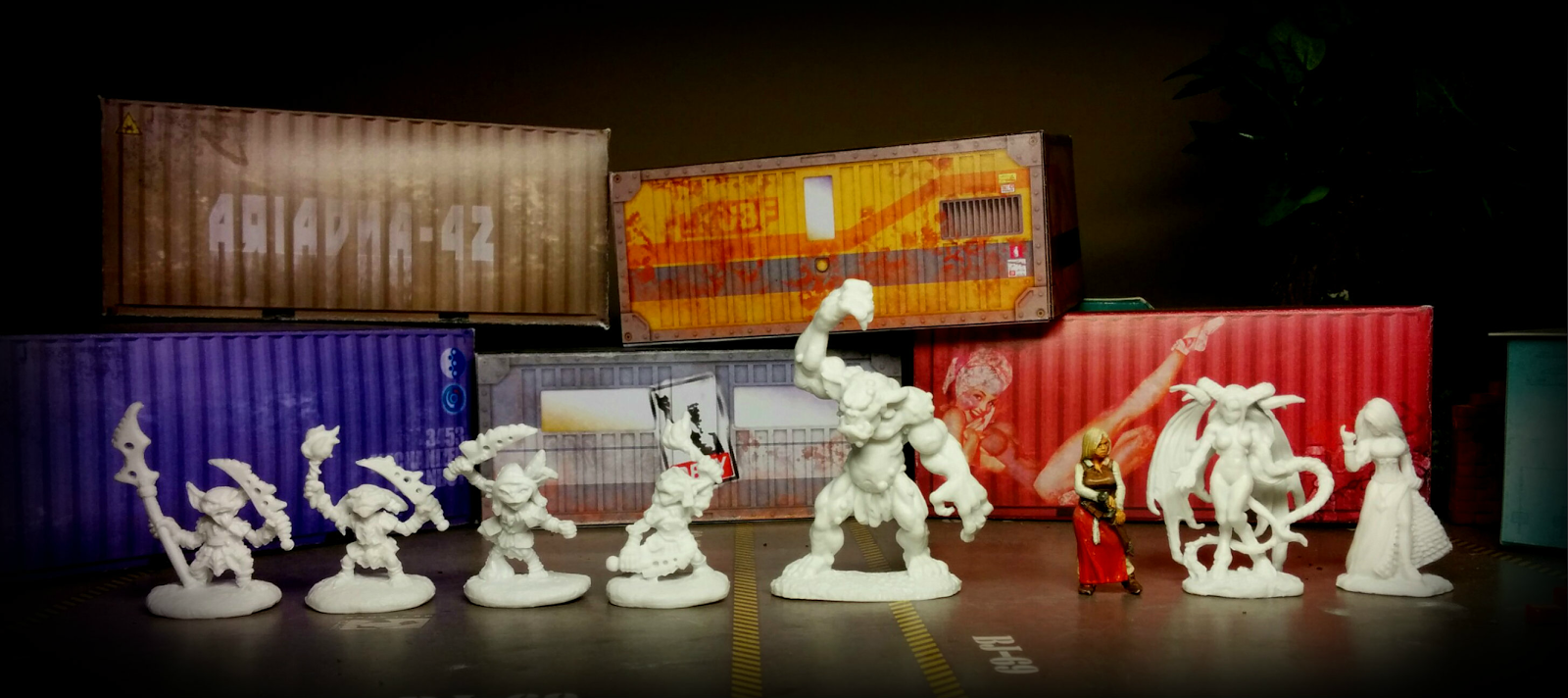 Goblin Warriors, Goblin Pyros, Cave Troll, Townsfolk: Strumpet,Virina - Female Demon - Reaper Bones,  Alicia - Hasslefree Miniatures
