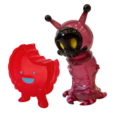 Red Plasma Big Sal Vinyl Figure by Brandt Peters and Kathie Olivas &amp; Clear Red Foster Vinyl Figure by Super7