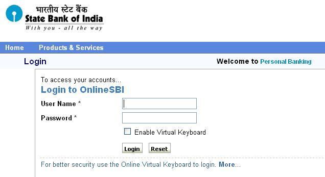 OnlineSBI Login Page
