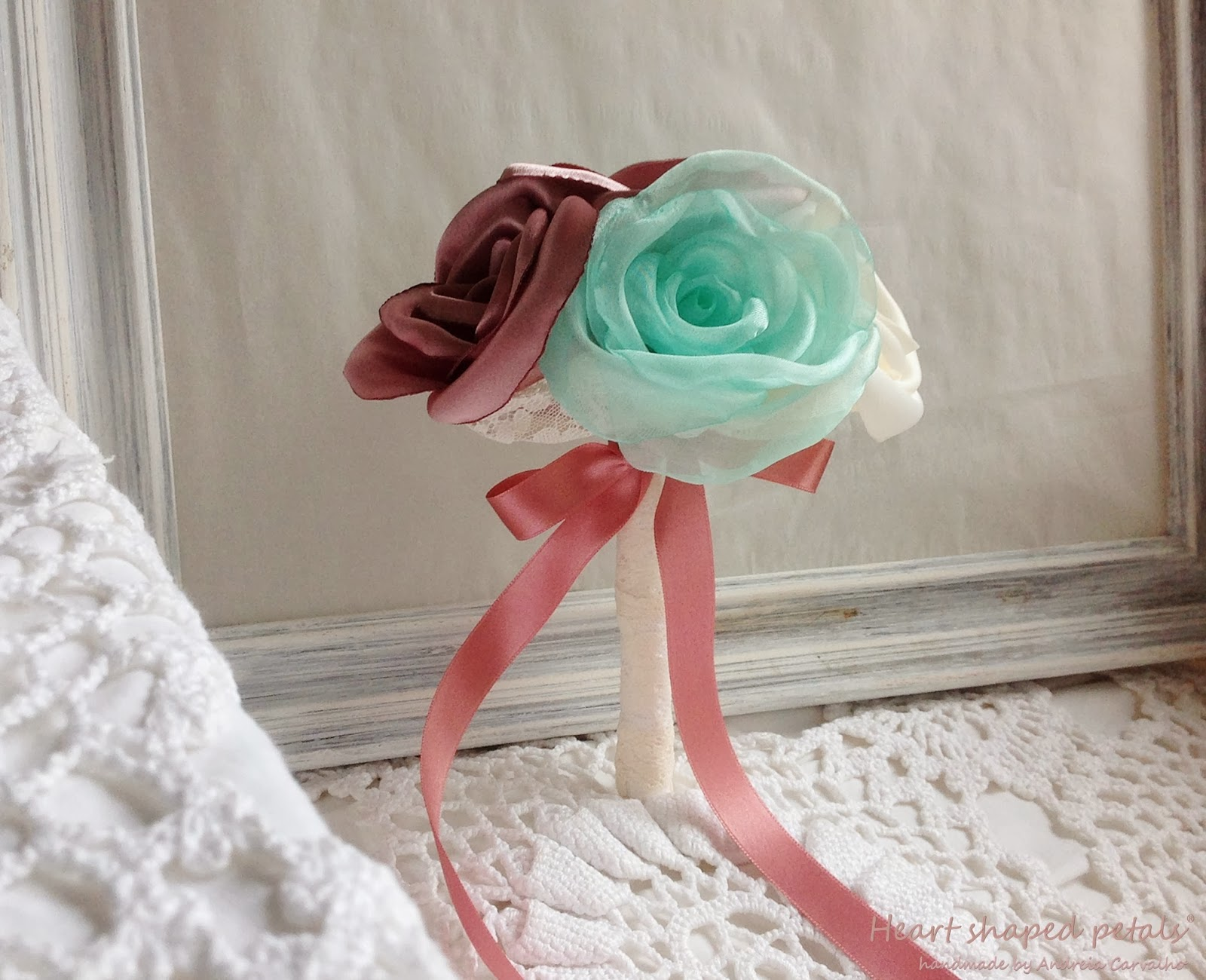 Bridesmaid fabric bouquet mint dusty pink