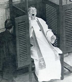 priest yawning