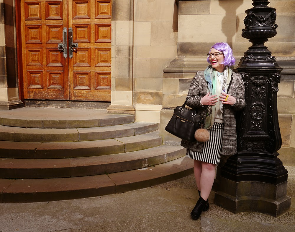 #scotstreetstyle, #EdFashion, Edinburgh, street style, monochrome, stripes, Breton, lilac hair, pom pom, Georgian architecture