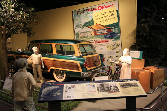 Better economy and lifestyle for Americans after World War II as they make more money to buy cars and homes at National Museum of American History in Washington DC, USA