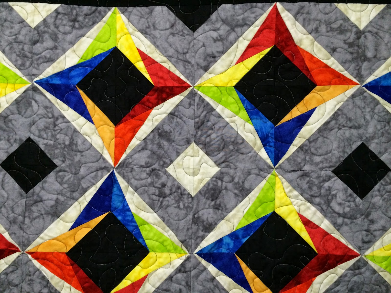 Chris Olsen's Black and Grey Kaleidoscope Quilt