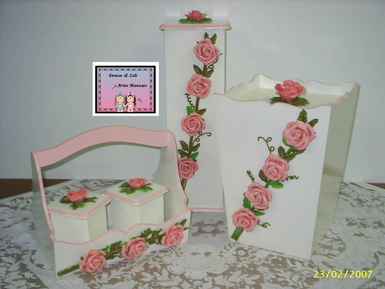 Artes Manuais Kit de Banheiro  mdf e biscuit -> Kit Banheiro Mdf Decorado