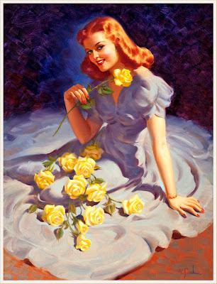 pin up con rosas y vestido azul