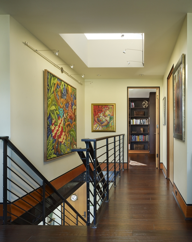 photo of floating home hallway and the staircase - Seattle Home Decor