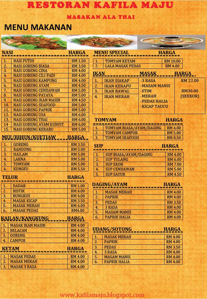 RESTORAN KAFILA MAJU: Menu Makanan Dan Senarai Harga di