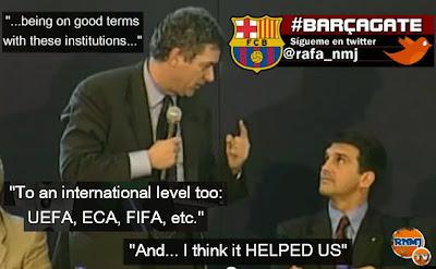 "Villar (felicitando a Laporta): ""Sorte, e que voltem os sucessos a este extraordinário clube"", july 2003 Barçagate Villarato"