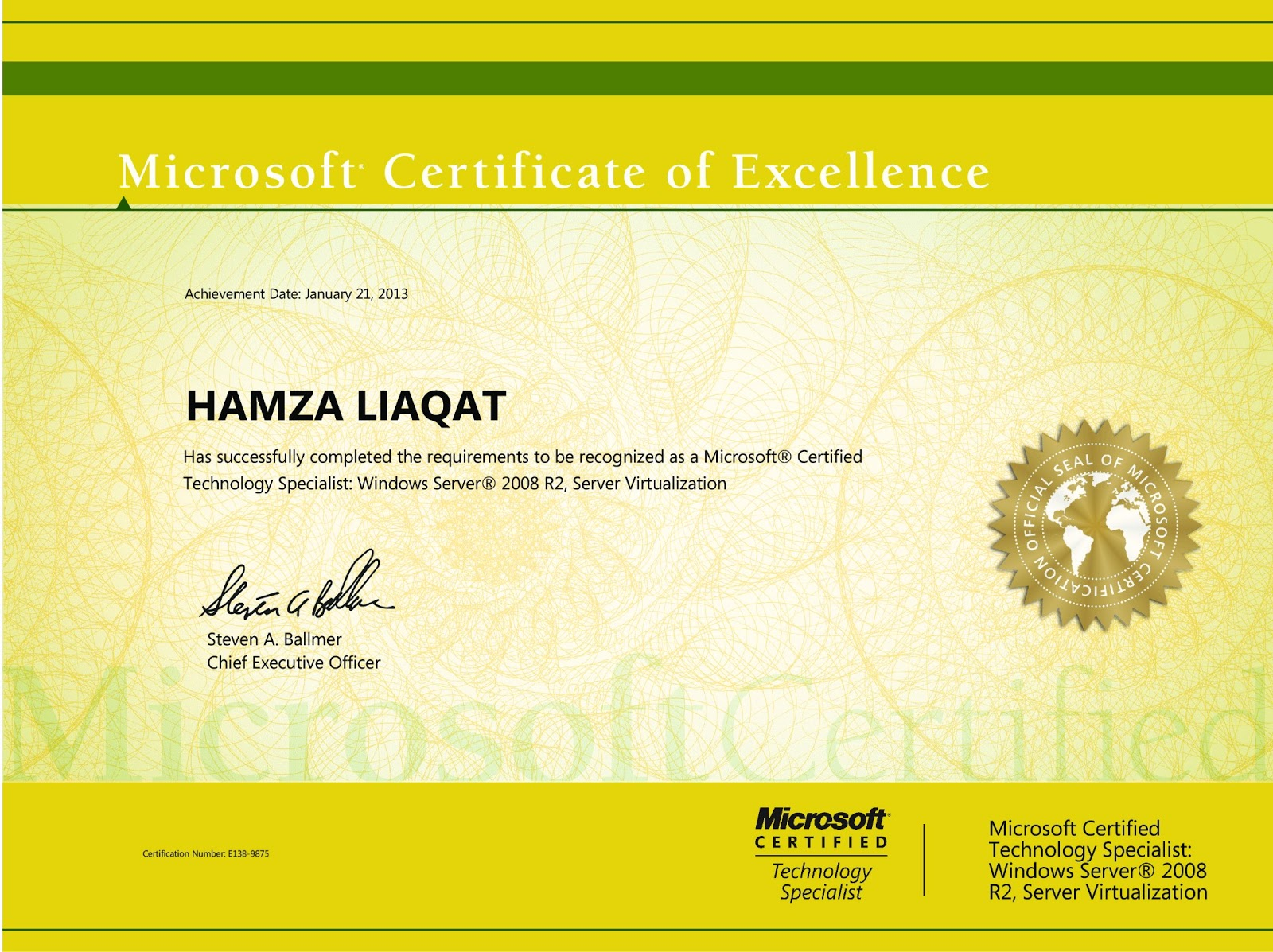 Hamza Liaqat Profile Mcts Windows Server 2008 R2 Server