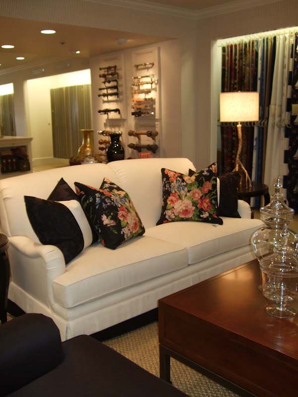 This Is Ralph Laurenu0027s Beautiful Fabrics On A Kravet Sofa. Love The Black  Floral Pillows With The White Sofa. Notice The Black Trim Details At The  Bottom Of ...