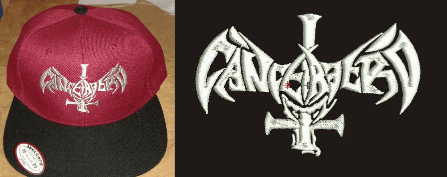 diseño bordado cancerbero gorra