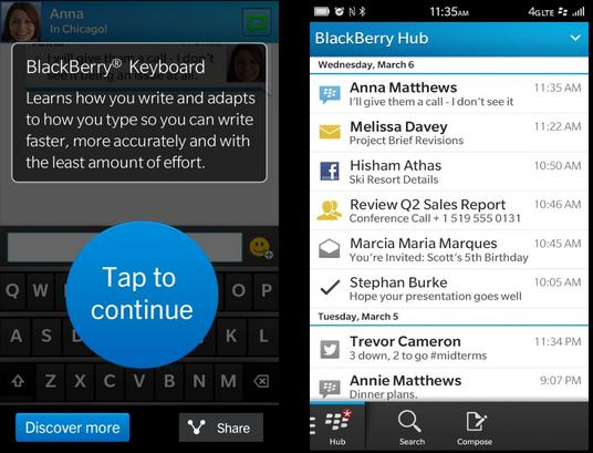 Blackberry keyboard and Blackberry Hub