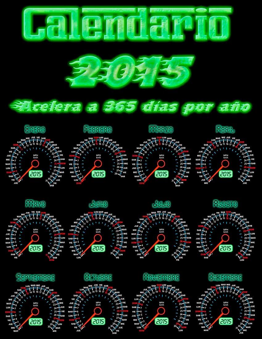 12 Velocímetros marcando los meses y los días del año 2015