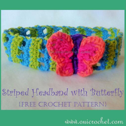 Oui Crochet Striped Headband With Butterfly Free Crochet Pattern